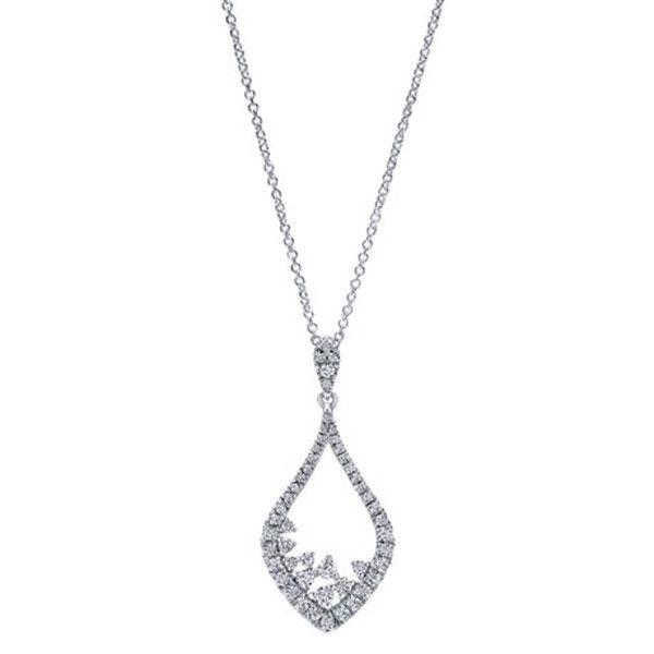 Gabriel 14K White Gold Diamond Teardrop Vintage Style Pendant Featuring 0.60 Carats Round Cut Diamonds at Ben Garelick Jewelers.Free Shipping. Style NK4928W45JJ