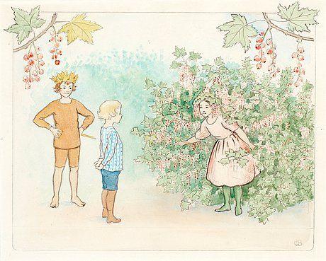 Elsa Beskow 1874-1953 Illustration for children's story.