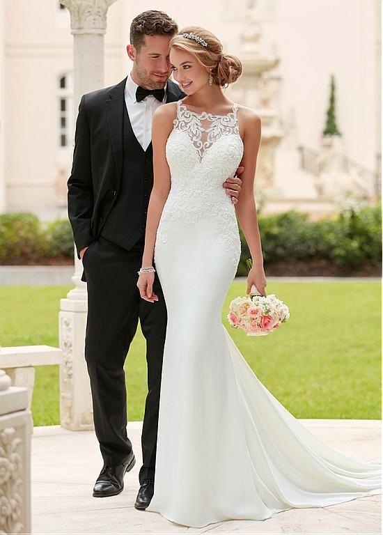 Romantic Tulle & Acetate Satin Square Neckline Natural Waistline Mermaid Wedding Dresses With Beaded Lace Appliques