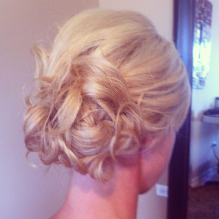 Low Side Bun With Loose Curls Pinned Up Wedding