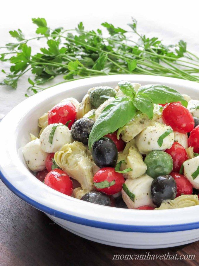 Caprese Salad with Olives & Marinated Artichoke Hearts is great for gatherings. | low carb, gluten-free, keto |