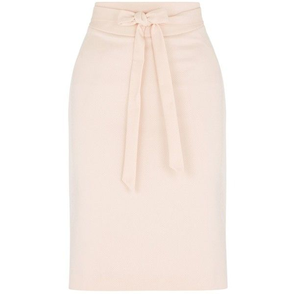 Oasis Bonnie Workwear Skirt, Oyster (£38) ❤ liked on Polyvore featuring skirts, pink skirt, pink pencil skirt, pink bow skirt, bow pencil skirt and bow skirt