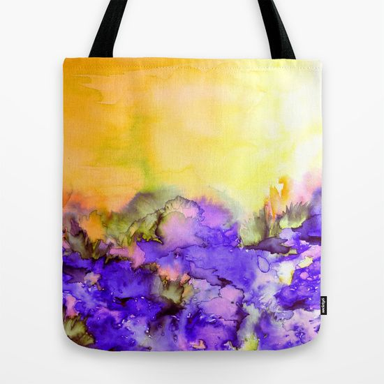 """""""Into Eternity - Yellow and Lavender Purple"""" by Ebi Emporium, Artist Julia Di Sano on Society 6, Colorful Abstract Fashion Canvas Tote Bag Whimsical Nature Watercolor Fine Art Painting, Sunshine Floral Outdoors Elegant Original Design #bag #totebag #shoulderbag #canvastote #watercolor #colorful #art #painting #abstract"""