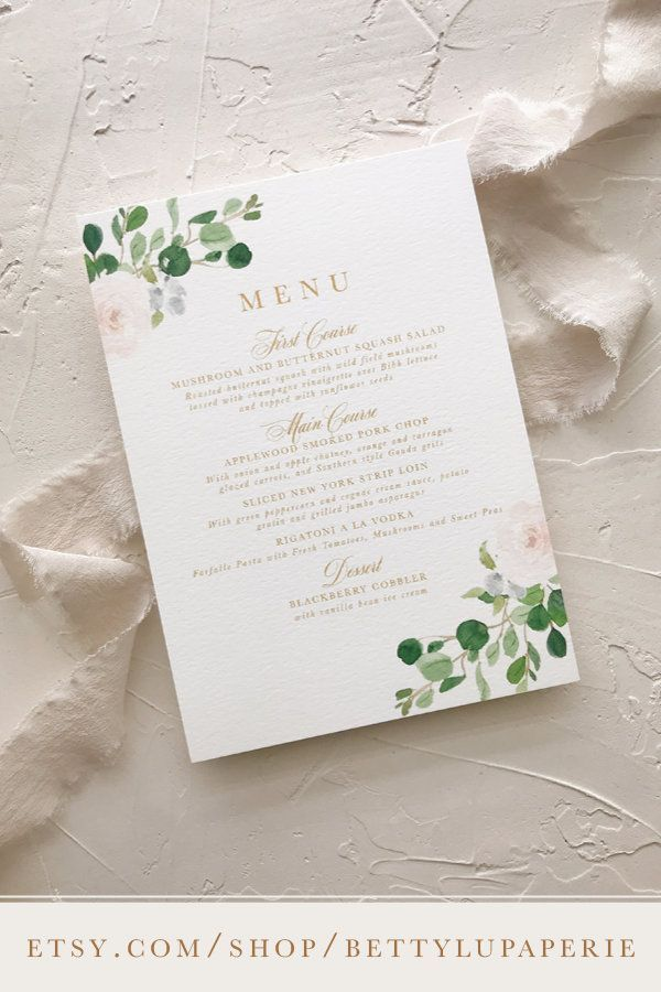 Wedding Dinner Menu Card Elegant Blush Wedding Decor Etsy Wedding Table Menus Wedding Menus Design Wedding Menu Cards