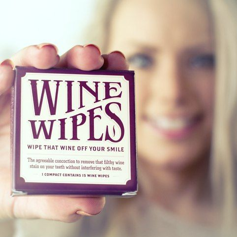 Wine Wipes from Firebox.com. I NEED THESE! Effortlessly wipe those horrific rouge stains away. Doesn't interfere with the taste of your next glass. Comes in a pocket-sized pot with a handy mirrored base. Stops you looking like you've the teeth of a cheeky street-urchin. Cunningly conceal your shameful work-drinking habits.