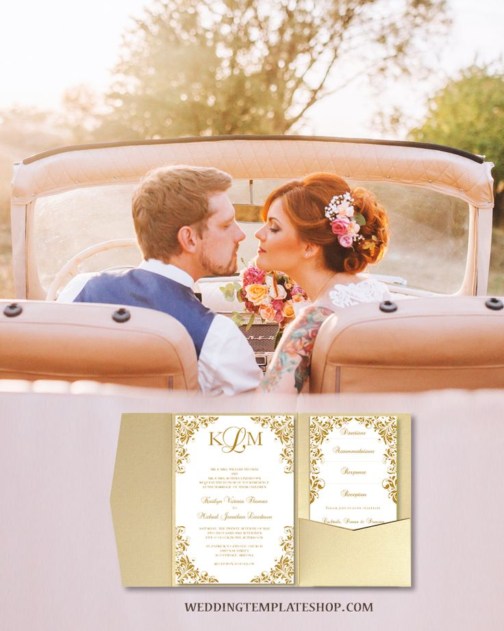free templates for wedding response cards%0A Pocket Fold Wedding Invitations Kaitlyn Champagne Gold  x