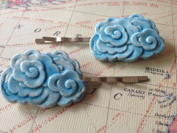 Sky Blue Cloud Hair Grips, by Pyscho Ceramics via Folksy, £5.00