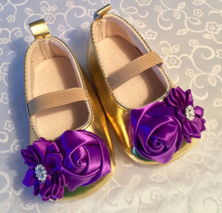 Purple and Gold Baby's  Soft Sole Shoes, LSU Baby Girls Crib Shoes With Rosettes, Baby's  Pre Walkers, Toddler Dress Shoes, Baby LSU Clothes by SundayChildBoutique on Etsy https://www.etsy.com/listing/482047476/purple-and-gold-babys-soft-sole-shoes