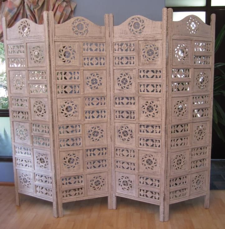 Divine Circle White Jali Wood Room Divider Screen Partition Bed Head