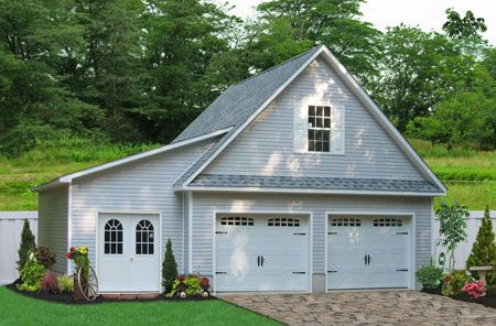 Two Car Garage with a Lean-To. Buy this 24x24 Garage with a 10'x22' Lean-To from the Amish in Lancaster County, PA. This detached two car garage is prefabricated and then set up on site. Learn more by clicking or call 717-442-3281 to learn more.