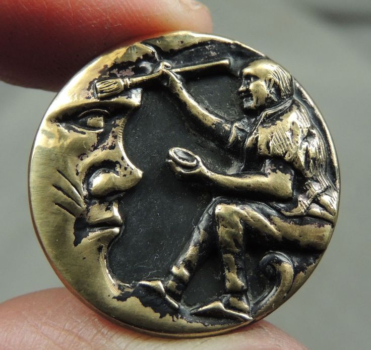 BRASS PICTURE BUTTON ~ BRUSHING COBWEBS OFF THE MOON    METAL