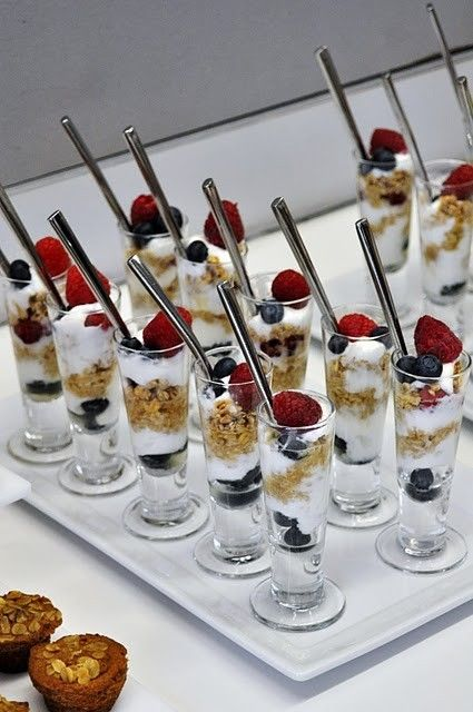 brunch ideas by Tara Greenfield Love the fruit parfait idea! :-)