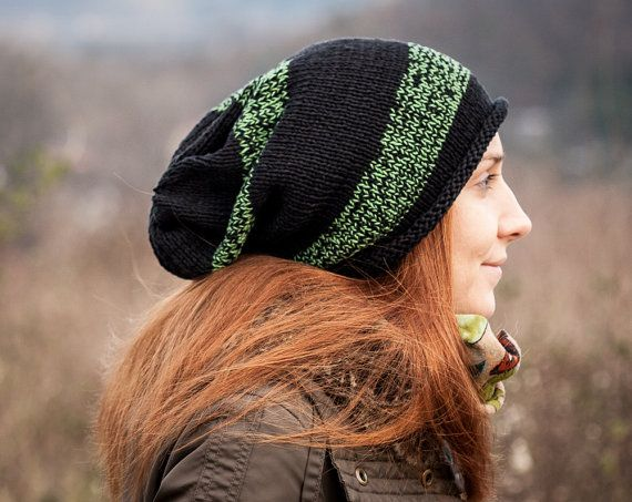 Green-Black Cotton Slouchy Beanie by RUKAMIshop on Etsy