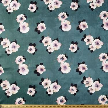 Printed Cotton Sateen - Water Floral Green 127 cm