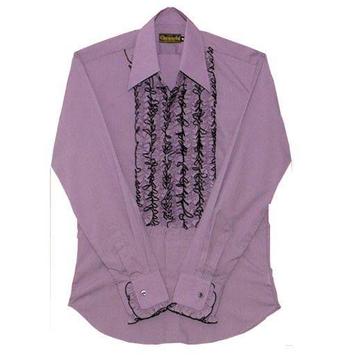 Ruffles Shirt, Lila met zwarte Ruffles