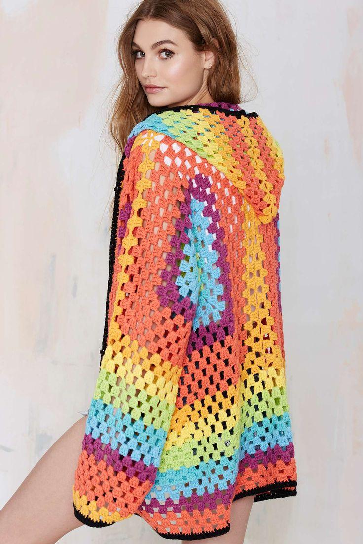 UNIF Meda com capuz Crochet Cardigan | Loja de roupas na Gal desagradável!