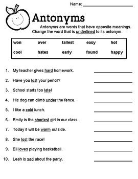 Antonym Worksheet | shurley english | Worksheets, Shurley english ...