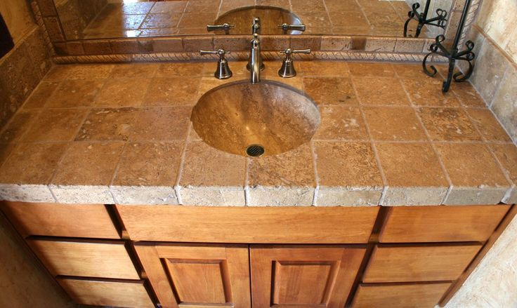 Bathroom backsplash travertine google search new house ideas pinterest travertine tile for Travertine bathroom countertops