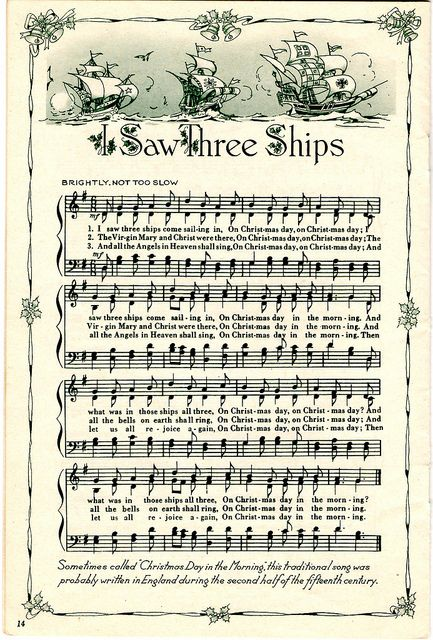 ♥ Sheet Music Printables for gift wrapping, or DIY Paper Projects .... I Saw 3 Ships by raidensgrammie21, via Flickr