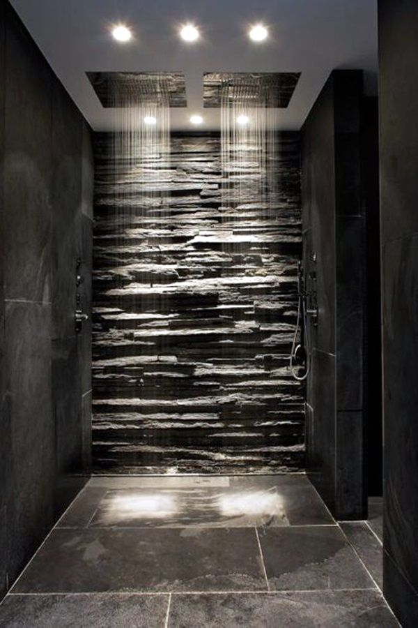 Modern bathroom shower tile - Waterfall Indoor Waterfall Stone Shower Stone Bathroom Rock Shower