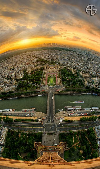 Paris seen from the top of Eiffel Tower