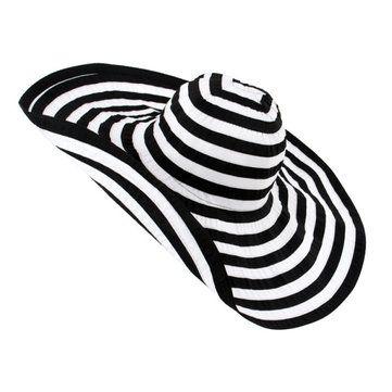 Women Stripes Wide Brim Floppy Cotton Beach Hat Summer Sunscreen Visor Hat at Banggood