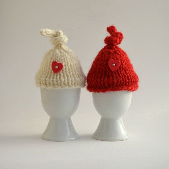 Egg cozy knit Valentine red white set of 2 by socks and mittens on etsy...$9.99Eggs Cozy, Valentine Red, White Sets, Knits Valentine, Cozy Knits, Red White, Etsy 9 99