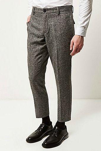 Black tweed slim cropped trousers £35.00 #RIMenswear #JustArrived