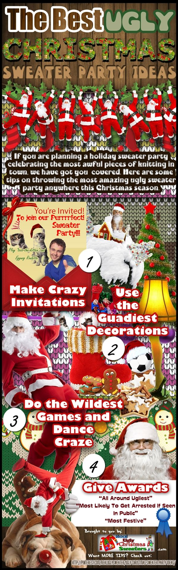 Ugly Christmas Sweater Party Ideas: The Best & Ultimate Guide  [by Realuglychristmassweaters -- via #tipsographic]. More at tipsographic.com
