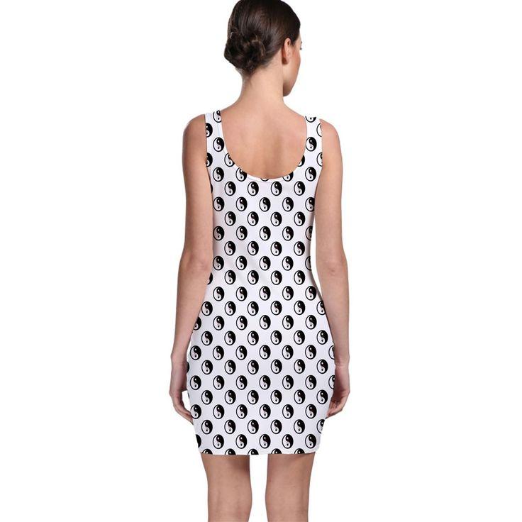 Grey Shade Love Chinese Character Yin Yang Heart Sleeveless Bodycon Dress 5 Colors