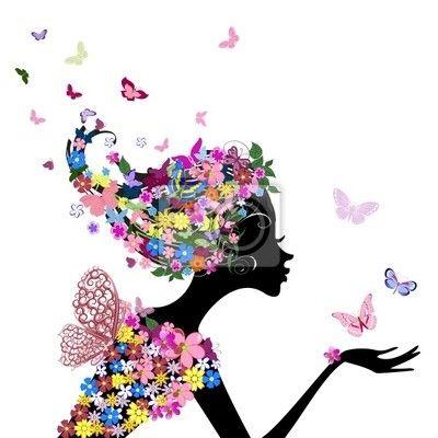Väggdekor flicka med blommor och fjärilar