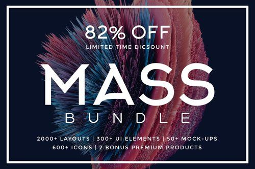 2000+ Layouts | 300+ UI Elements | 50+ Mock-ups | 600+ Icons | 2 Bonuses = MASS Bundle #bundle #graphic @GoaShape