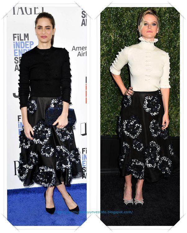 Una falda de Chanel pre-fall 2017 se lo vimos primero a Amanda Peet en los Spirit Awards; después se la vimos a Alice Eve durante el Tribeca Film Festival.