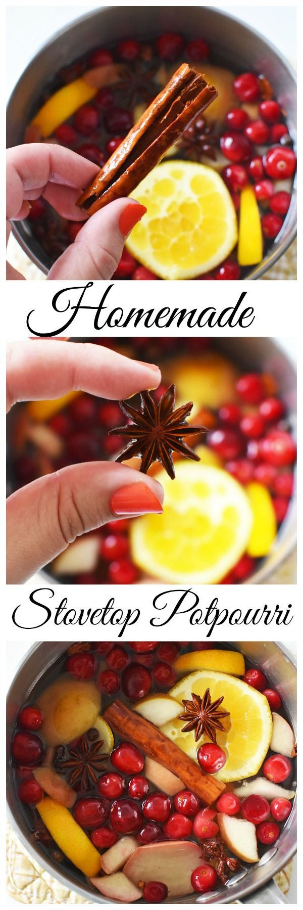 Homemade Stovetop Potpourri is the perfect way to get the scents of the season flowing throughout your home. Made with clove, anise star, and cinnamon to name a few- this mixture gives a great scent throw.