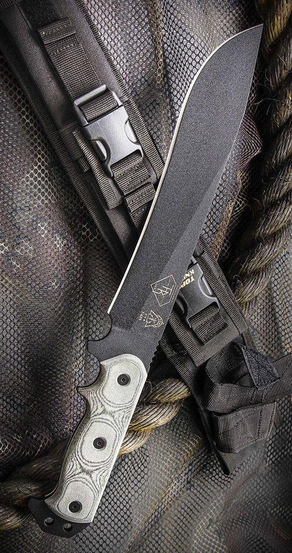 Tops Knives ATRD01 Armegeddon Fixed Blade Bowie Knife with Black Linen Micarta Handles & Black Ballistic Nylon Sheath with Kydex Liner