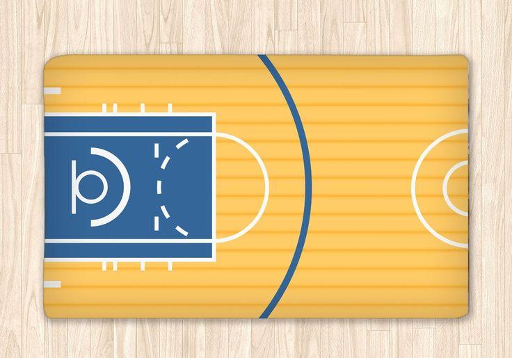 Custom Basketball Court Fuzzy Area Rug, Personalized