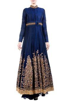 Royal Blue Raw Silk Jacket With Chiffon Lehenga, Lehengas