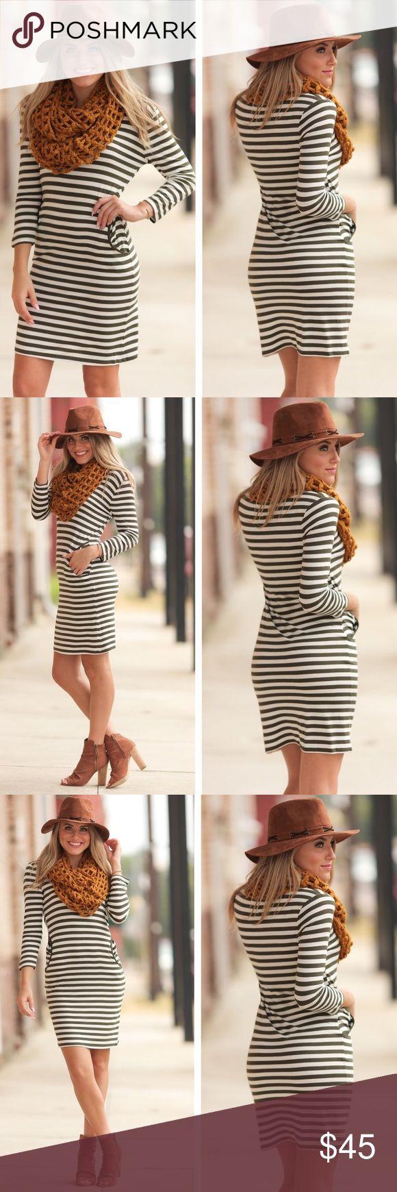 """Olive Striped Bodycon Dress w Pockets! Sizes S,M,L Olive Striped Bodycon Dress w Pockets! Sizes S,M,L  BUST: S-17"""", M-18"""", L-19"""" LENGTH: S-35"""", M-36"""", L-37""""  Who doesn't love a dress with pockets?! :) Infinity Raine Dresses"""