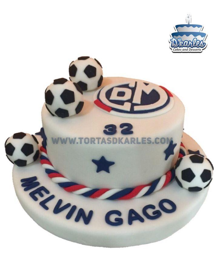 Torta Hecha MUNI, Torta Deportivo Municipal, precioso diseño ideal para celebrar al hincha del Muni, preparala en el queque de su preferencia, los balones los puedes modelar con un tecnopor forrado en fondant.