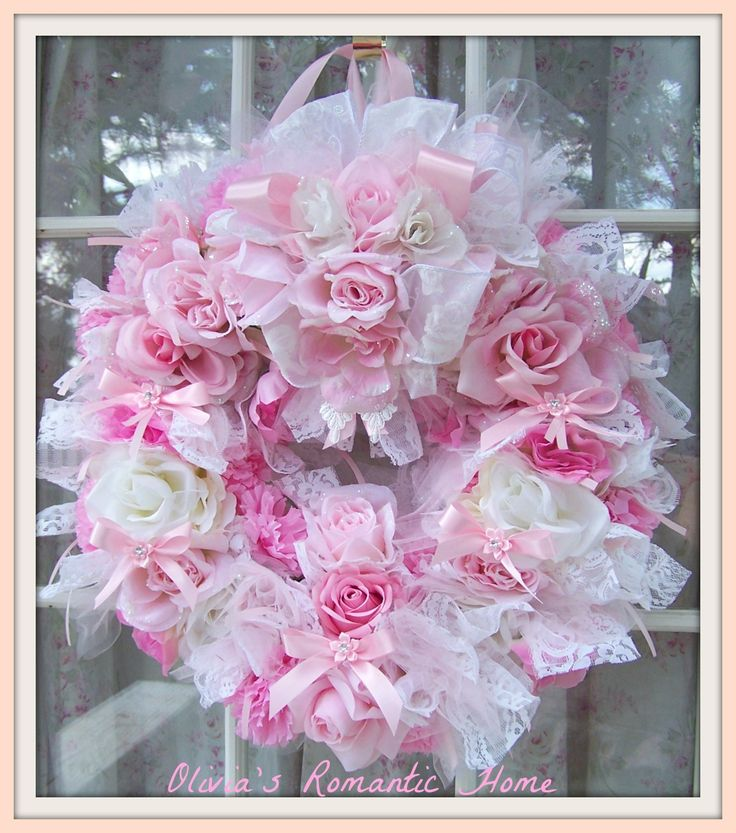 pink shabby chic | ... took a request for a Shabby Chic candy colored pink princess wreath