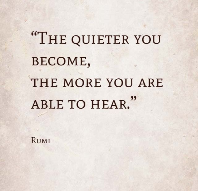 The quieter you become, the more you are able to hear. -Rumi