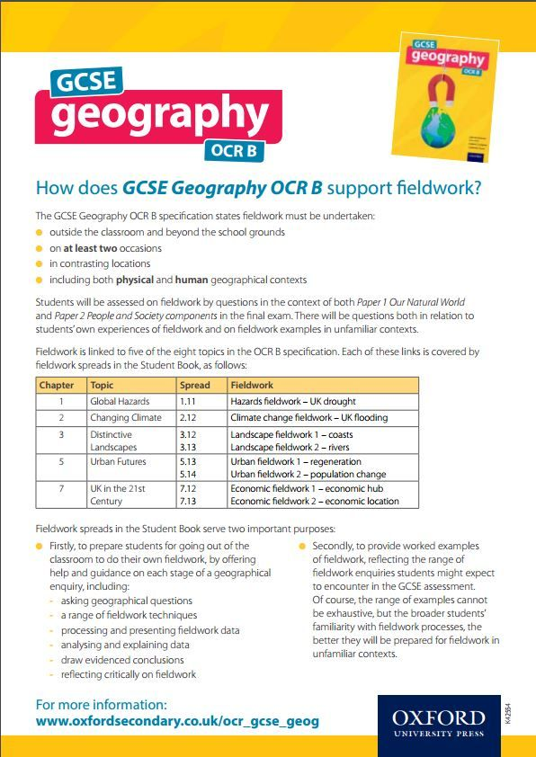 How does GCSE Geography OCR B (Oxford, 2016) support fieldwork? | 2016 GCSE specs | geography resources
