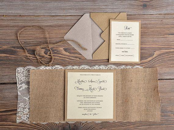 Invitation de mariage rustique de Eco recyclage par DecorisWedding