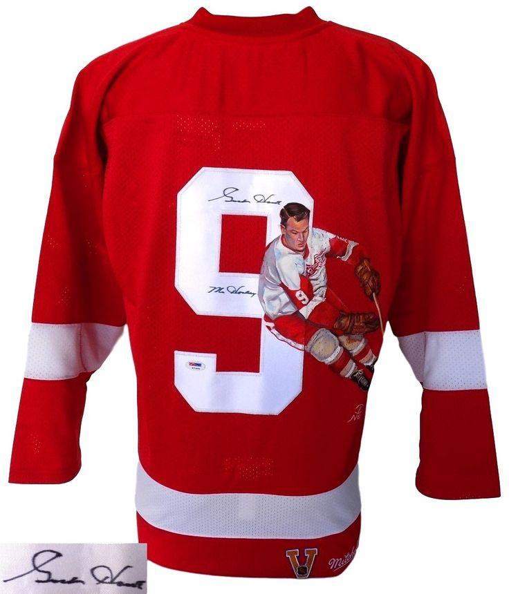 22563c4595c ... Gordie Howe Signed Red Wings MN Jersey Mr. Hockey w Rare Handpainted  Image PSA ...