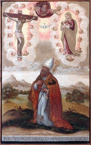 Sant'Agostino di Ippona in preghiera con Cristo Crocifisso e la Madonna // 1550-1599 // Theotocopoulos Domenico detto El Greco (?) // Museo Correr  #SaintAugustineOfHippo