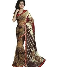 Buy multicolor printed faux_georgette saree With Blouse party-wear-saree online
