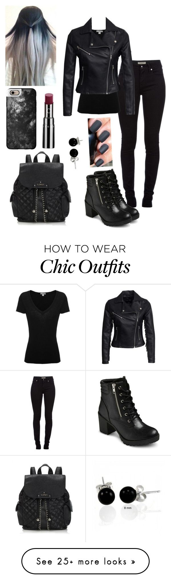 """All black everything"" by genova-was-here on Polyvore featuring Burberry, EASTON, James Perse, New Look, Lipsy, Bling Jewelry, Casetify and Chantecaille"