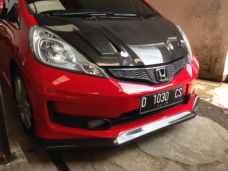 Carbon engine hood JS Racing style and Carbon front lips Charge Speed style