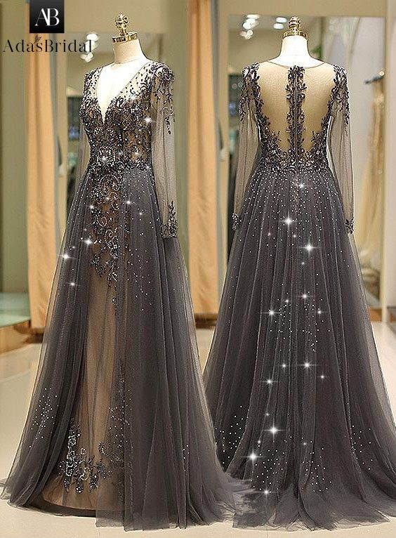 Winsome Tulle V-neck Neckline Floor-length A-line Evening Dress With  Beadings 57d681d6c8d7