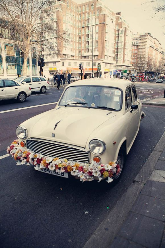 Vintage Indian Ambassador car/taxi - fab wedding day transport idea!